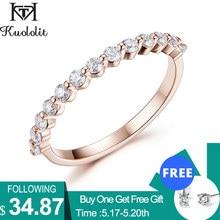 Kuololit 585 14K 10K Rose Gold Blase Ring für Frauen Moissanite Solitaire Ring Passenden Halb Eternity Hochzeit Band engagement
