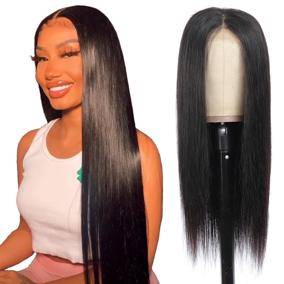 13x4 frente do laço perucas de cabelo humano brasileiro em linha reta perucas de cabelo humano 360 peruca frontal do laço pré arrancado 4x4 perucas do fechamento do laço