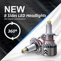 8-гранная светодиоды с чипом CSP светодиодный головной светильник лампы 6000 К мини тела H7 светодиодный 360 градусов полный светильник 18000LM H11 тум...