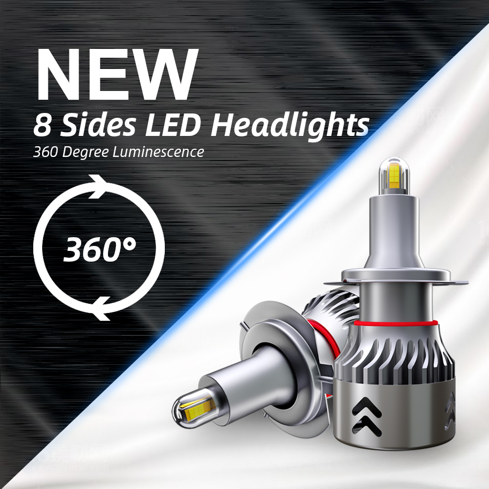 8 Side CSP Chips <font><b>headlight</b></font> bulbs mini body H7 <font><b>led</b></font> <font><b>360</b></font> degree Full light 18000LM H11 <font><b>LED</b></font> fog light H1 H3 9005 9006 HB3 HB4 6000K image