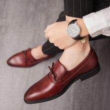 2020 Classic Casual  Men's Dress Shoes Fashion Elegant Formal Wedding Men Slip On Office Oxford Big Size 38-48