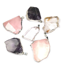 LE SKY Natural Stone Pendant & Necklace Irregular Shape Pendants Charms for Jewelry Making 40x50mm