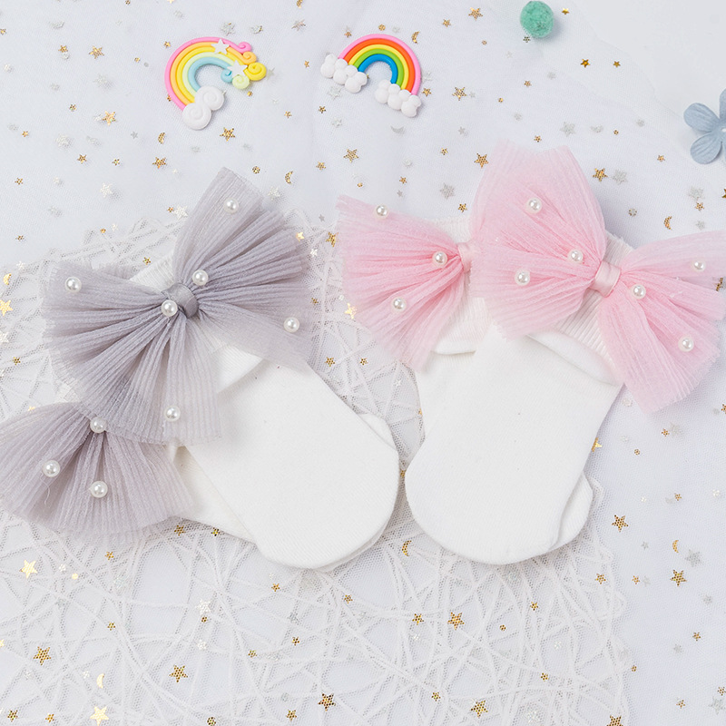 Baby Girls Child Kid Ankle High Lace Frilly Ruffle Cotton Princess Socks Big Bow