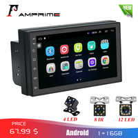 """AMPrime 2din Car Radio Android 7"""" MP5 Multimedia Player Mirror link 2 Din Touch screen GPS Bluetooth FM WIFI auto audio player"""