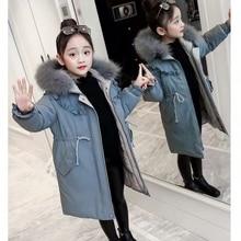 Winter Jacket Coat Parka Girls New Thick Teenager Long Cotton Fake-Fur-Collar