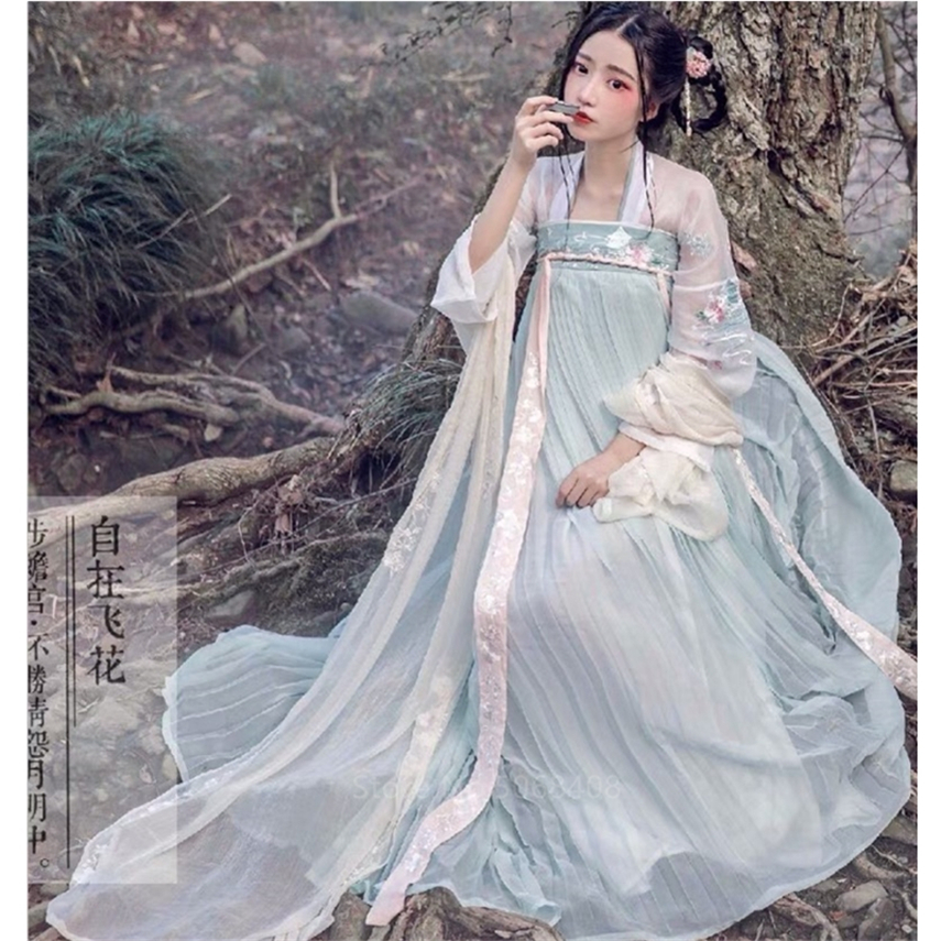 11Colors Vintage Women Hanfu Dress Square Collar Tang Suit Set Fairy Girls Ancient Elegant Wedding Dress Stage Performance