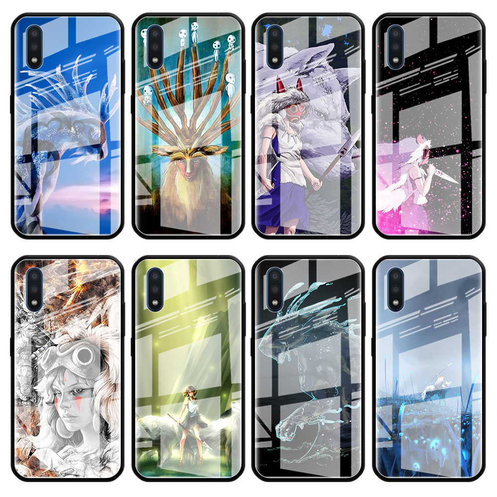 Tempered Glass Phone Case for Samsung Galaxy A20 A30 A40 A50 A70 A51 A71 A81 A91 A01 M31 A10 Cover Princess Mononoke Anime image