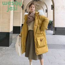 купить Winter Jacket Women maxi long Thick Coat Fur collar Hooded Parka Mujer 2019 Warm Cotton Padded full-sleeve Women jacket Coat дешево