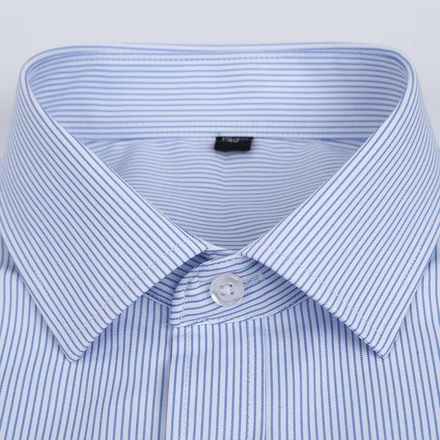 Summer S~8xl men's striped short sleeve dress shirt square collar non-iron regular fit anti-wrinkle  pocket  male social shirt 5