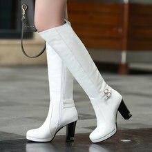 Женские сапоги на меху fanyuan белые или Коричневые Высокие