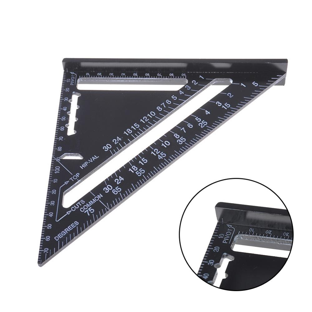 7/12inch High Precise Aluminum Alloy Metric Triangle Ruler Squares Woodwork Quick Read  Square Triangle Angle Protractor Trammel