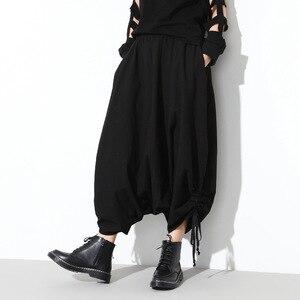 Image 4 - [Eam] 2020春秋の新ファッションブラックソリッドポケット弾性ウエストカジュアルルーズビッグサイズレディースロングクロスパンツRA231