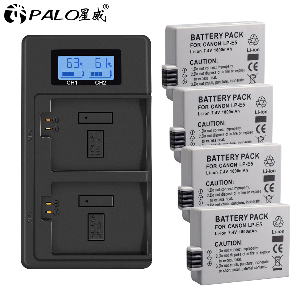 Palo 1-4pcs lp-e5 LP E5 camera battery+LPE5 battery LCD dual slot usb charger for Canon EOS 450D 500D 1000D Kiss X3 F Xsi camera image
