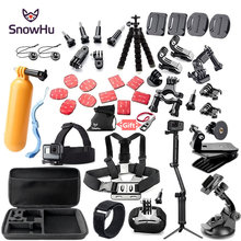 SnowHu Cho Gopro Bộ Phụ Kiện Gắn Cho Go Pro Hero 9 8 7 6 5 4 3 Màu Đen Cho Xiaomi Yi 4K Camera Hành Động Phụ Kiện Ốp Lưng GS52