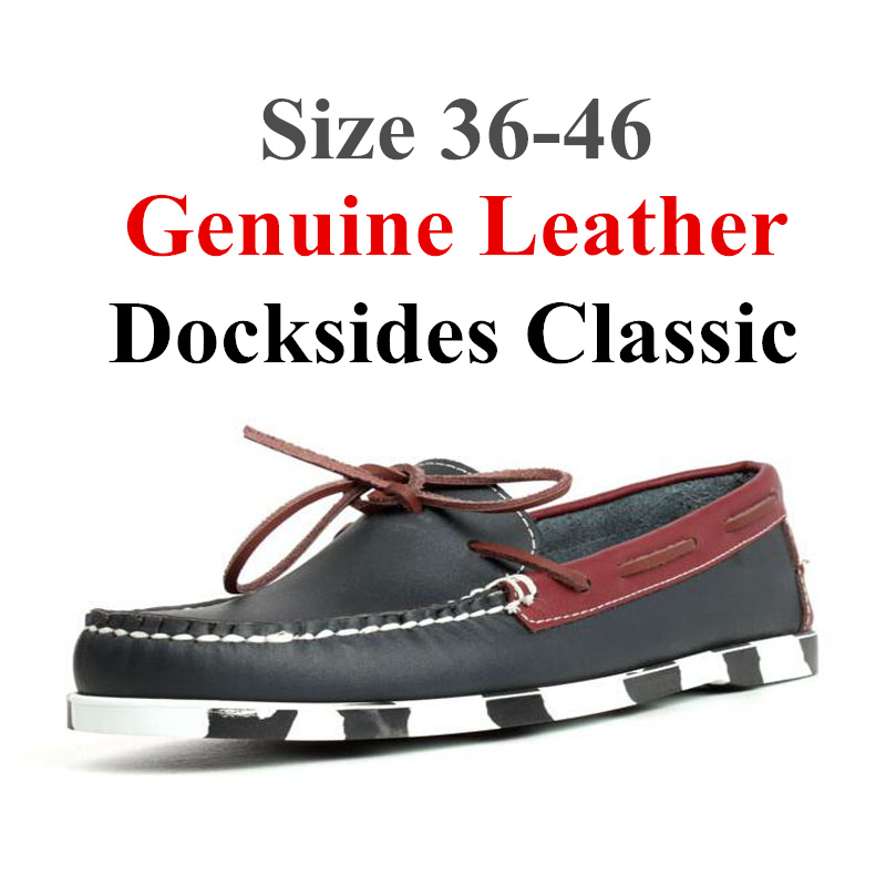 Men Women Genuine Leather Docksides Classic Boat Shoes,Homme Femme Navy Red Plus Big Size 36-46 Brand Flats Loafers A063