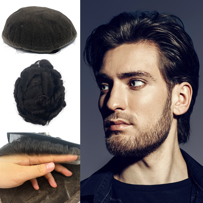 Full Lace Base Man Human Hair Wig Remy Hair Toupee Good Air Permeability