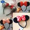 Disney Mickey Minnie Ears Teenagers Headband Hair Jewelry Headband for Baby Girl Tiara Girls Bows Hair Clip Kids Birthday Gift