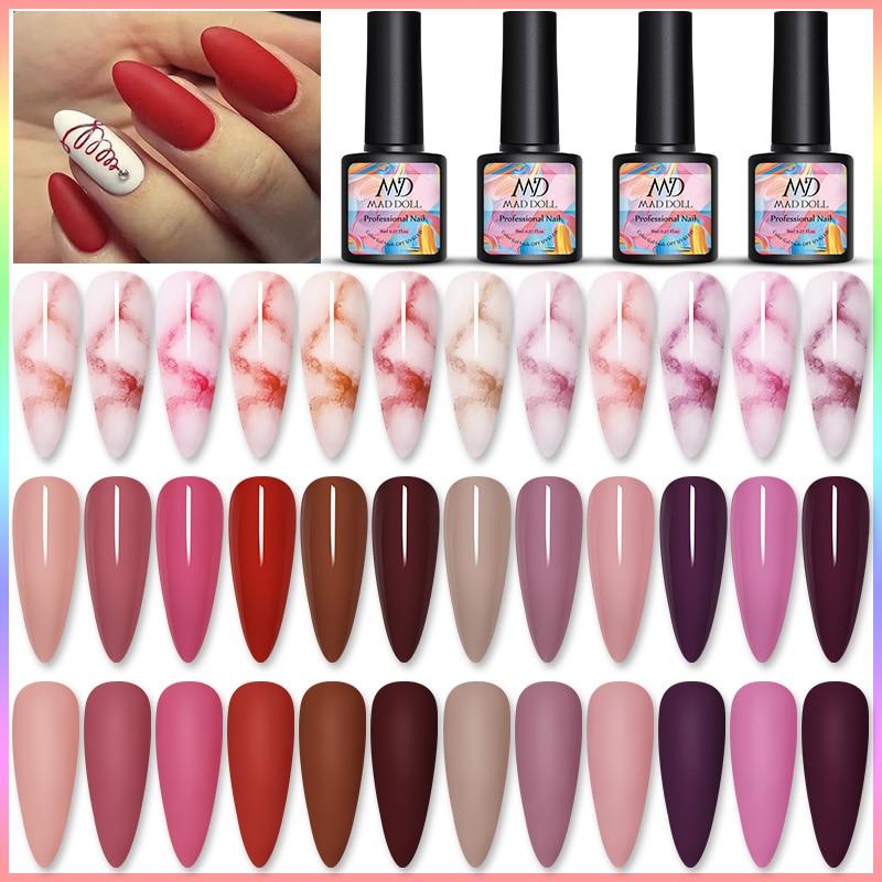 MAD DOLL 8ml  Red Sereis 12 Colors Gel Polish Soak Off UV Gel Manicuring Nail UV Gel Polish Nail Art DIY Nail Art Design