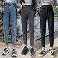 2021 новые женские с завышенной талией на резинке и пуговицами, джинсовые штаны-шаровары джинсы; Модные повседневные ботфорты Размеры d уличн...