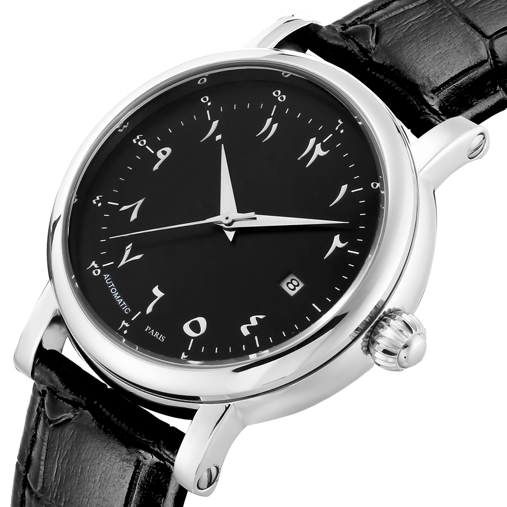Big Case Arabic Watch for Man Automatic Self Wind Watches Arabic Numerals Dial Face Watches Men Automatic Mechanical Movement