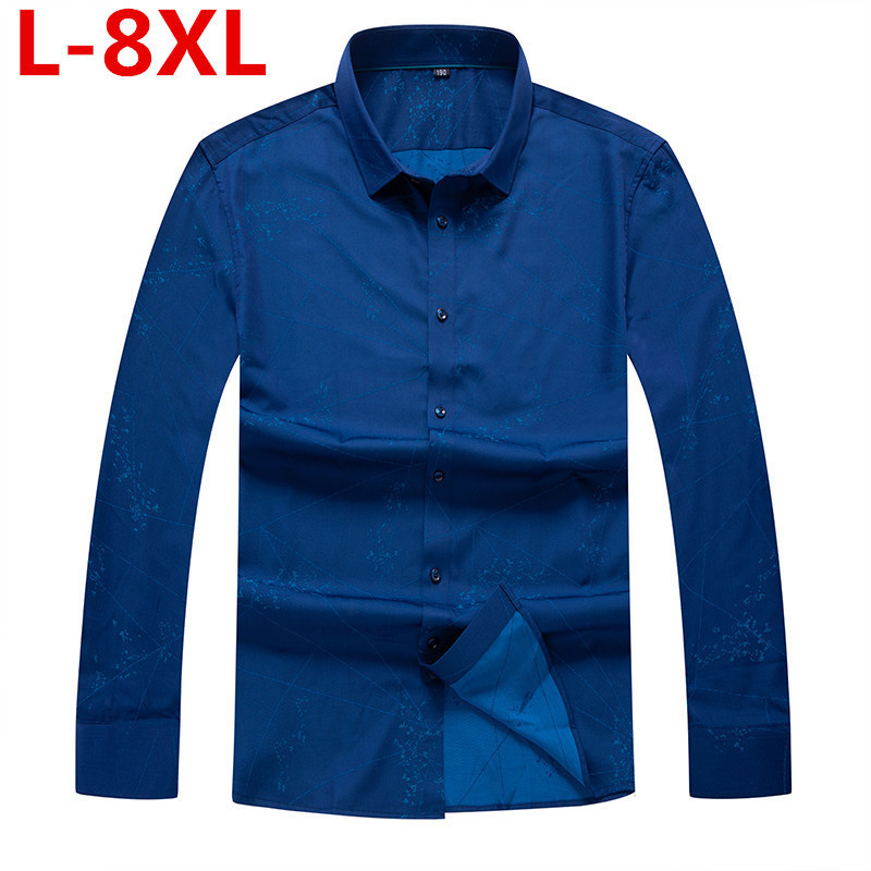 High Quality Plus Size 8XL Autumn Flower Printed Long Sleeve Shirts Men Camisa Male Loose Flower Shirts Vintage Casual Men Shirt