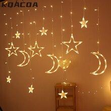 3,5 M Mond Sterne Lampe LED Lampe String Ins Weihnachten Lichter Dekoration Urlaub Lichter Vorhang Lampe Hochzeit Party Fee Neon 220v
