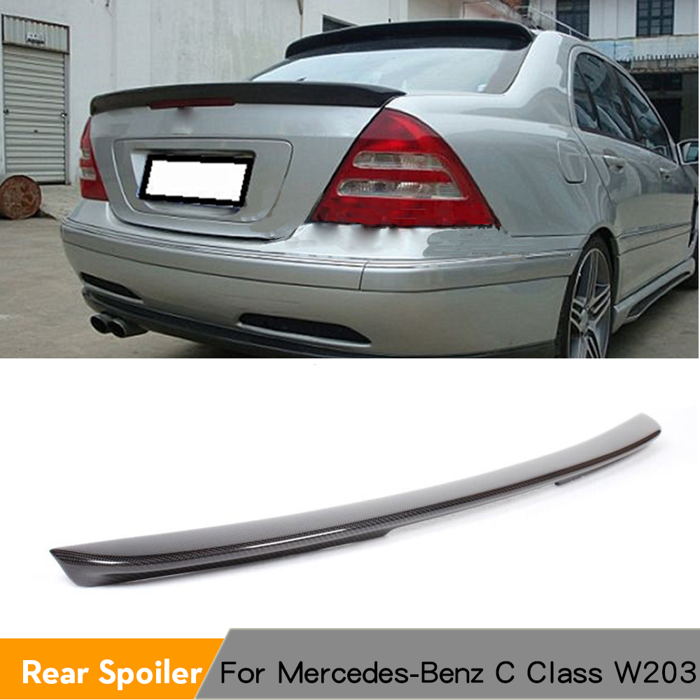 For Mercedes Benz <font><b>W203</b></font> 2001 - 2006 C200 C240 C320 C55 AMG C Class Carbon Fiber Rear Trunk <font><b>Spoiler</b></font> Boot Lip Wing image