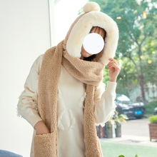 Winter Warmer Women Plush Scarf Hat Glove Sets Female Neckerchief Soft Fluffy Neck Scarves Girls Pocket Long Hooded Scarf Red multi function winter warm scarves soft beanies hat cap female girls red ring scarf mask chunky circle loop scarves neck warmer