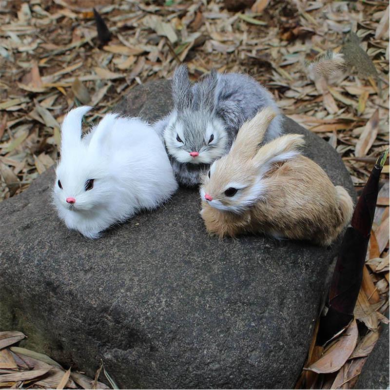15CM mini cute rabbit animal plush toy fur realistic filling Easter simulation model birthday gift WJ112