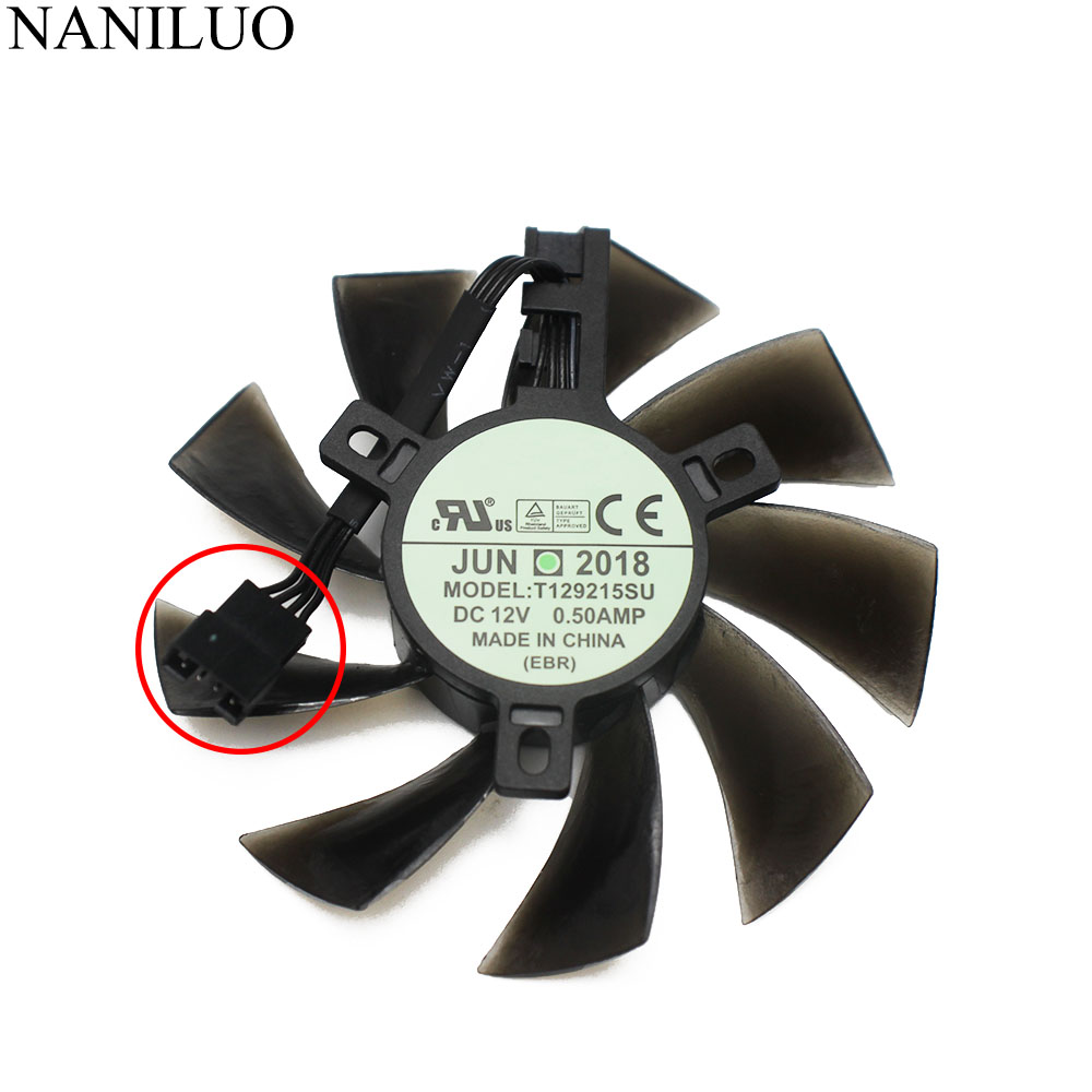1PCS DIY 85MM T129215SU 4Pin Cooler Fan For Gigabyte GeForce GTX1060 1070 RX 480 470 570 580 GTX 1060 G1 P106 Graphics Card Fans