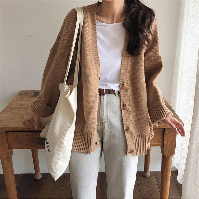 New Brown Oversize Women's Sweaters Autumn Winter Vintage V Neck Cardigans Single Breasted Puff Sleeve Loose Cardigan Women Warm