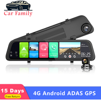 12 4G Dash Cam Android 8.1 Car DVR Rearview Mirror Camera 2GB+32GB GPS Navigation ADAS WIFI Dual Full HD 1080P Video Recorder