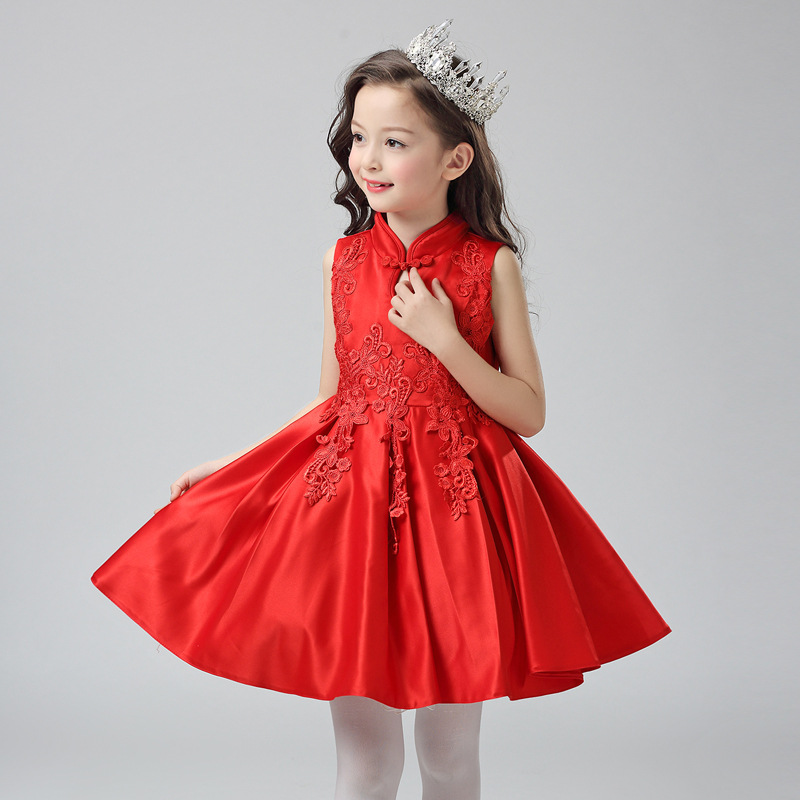New Style Korean-style Red Girls Wedding Dress Baby Birthday Piano Performance Puffy Princess Skirt