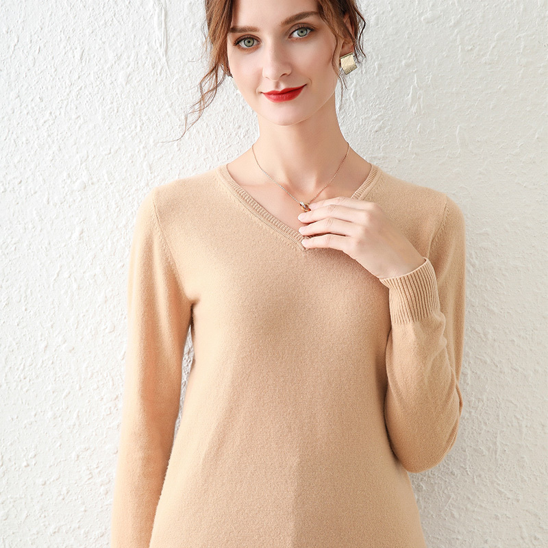 TAILOR SHEEP sweater women v neck long sleeve knitted wool pullover solid color slim bottom thin shirt tops
