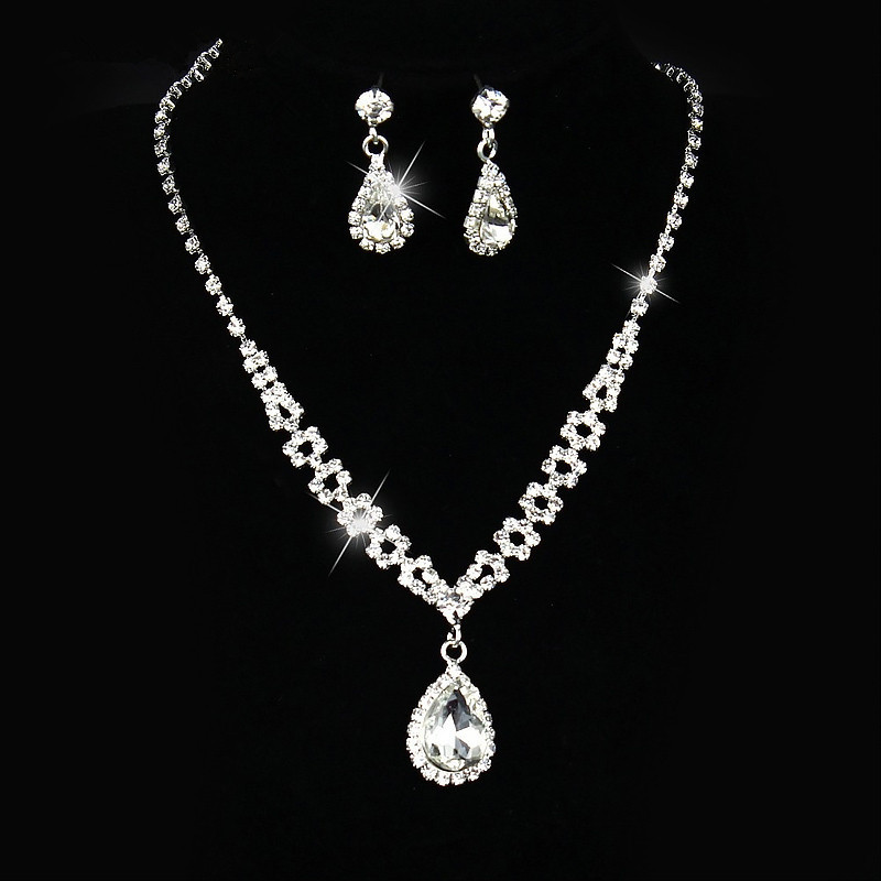 Bridal Jewelry Sets Silver Color Necklace Sets Rhinestone Wedding Jewelry Parure Bijoux Femme OL Dress Accessories