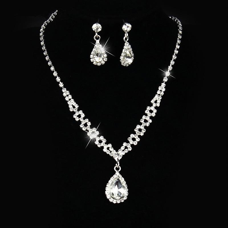 Bridal Jewelry Sets Silver Color Necklace Sets Rhinestone Wedding Jewelry Parure Bijoux Femme OL Dress Accessories