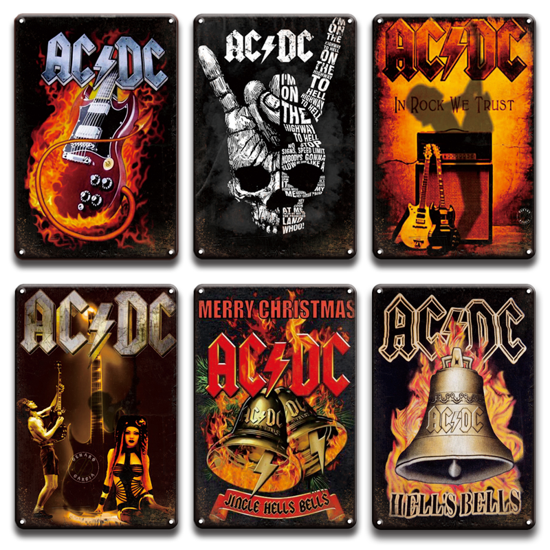 Metal Tin Sign ac//dc in rock we trust Decor Bar Pub Home Vintage Retro Poster