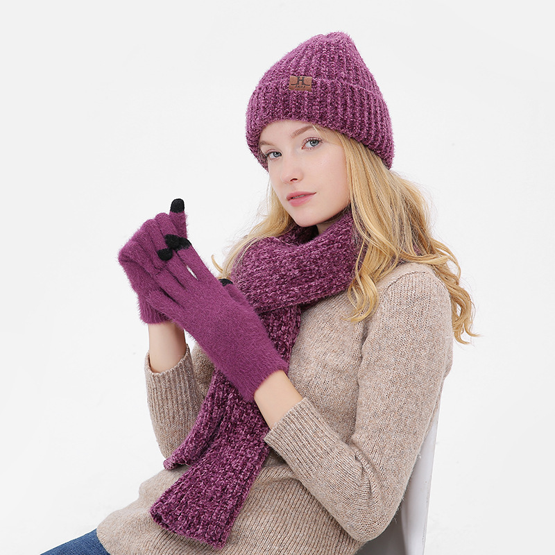 Winter Hat And Scarf Set For Women Girl 'S Knitted Hat Wool Hat Cotton Skullies Female Cap And Scarves Gloves Set Solid Color