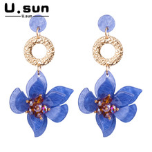 Flower Earrings Fabric Resin Acrylic Fashion Irregular Geometric Earrings for Women Elegant Colorful Ladies Jewelry Statement цены