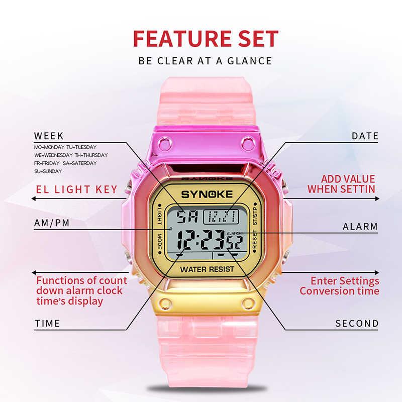 SYNOKE גבירותיי שעון LED זוהר אופנה דיגיטלי נשים גברים צבעוני ספורט חדש לשני המינים מעורר שעוני יד שעונים reloj mujer