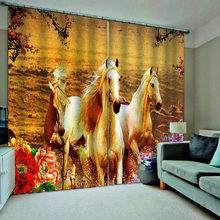 Modern Prited 3D Curtains horse Curtains For Living Room Bedroom Window Blackout Drapes Custom size(China)