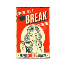 DRINK COFFEE Vintage Decorative Plates Retro Plaque 12 Styles Metal Tin Signs for Bar Pub Cafe SHOP Wall Decor N048