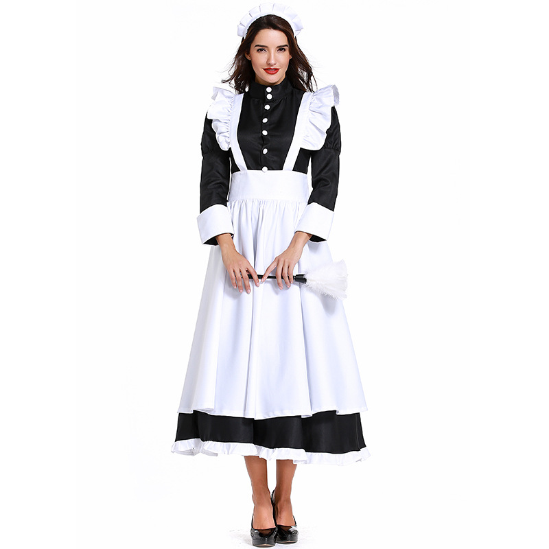 Halloween Party French Maid <font><b>Lolita</b></font> <font><b>Dress</b></font> Hen Party Book Week Deluxe French Wench <font><b>Lolita</b></font> Outfit Costume image