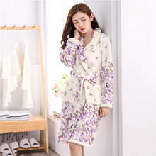 Female Winter Kimono Bathrobe Gown Homewear Flannel Robe Sleepwear Home Clothes Soft Coral Fleece Intimate Lingerie Nightdress female coral fleece kimono robe nighty
