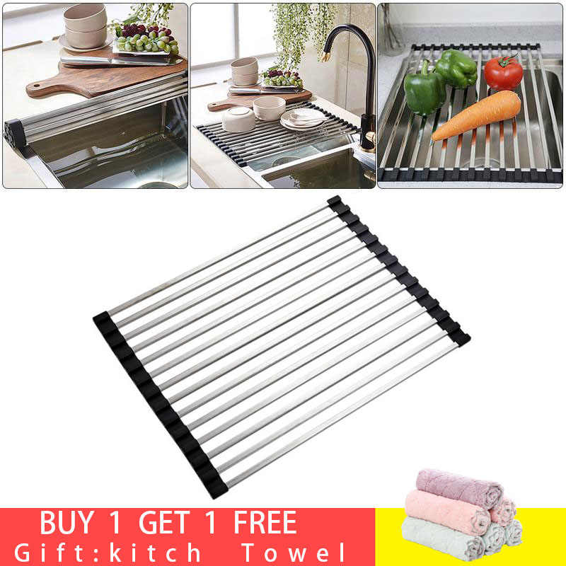 4 Styles Kitchen Sink Dryer Dish Stainless Folding Fruit Vegetable Fish Storage Drainer Shelf Rack for Kitchen Pantry Organizer