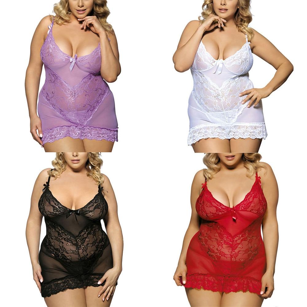 Sexy Lingerie Women Porno Lace Erotic Sexy Underwear Babydolls Lenceria Mujer Sexo Transparent Sleepwear Costume Plus Size L-5XL