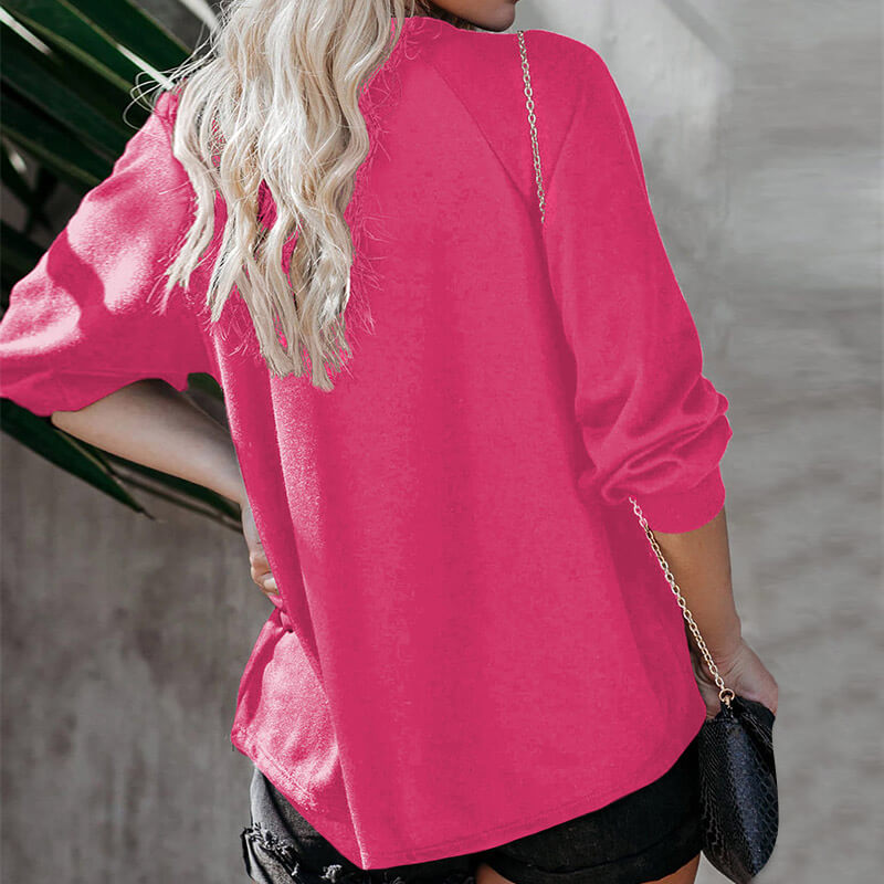Casual Ladies Printed Long Sleeve Crewneck T Shirts Women Tops Casual Loose Pullover