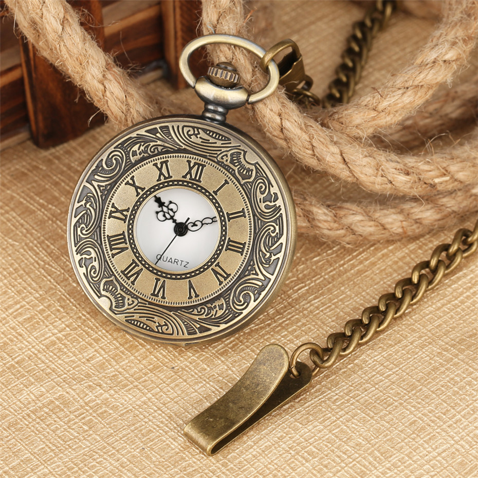 Classic Bronze/Silver/Black/Gold Roman Numerals Half Hunter Quartz Pocket Watches