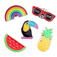 Cartoon rainbow watermelon pineapple glasses woodpecker Dripping oil brooch Fashion bag, clothing pin gifts for women