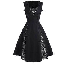 Женское винтажное кружевное платье А-силуэта, сексуальное платье без рукавов в готическом стиле, шикарные Ретро вечерние бальные платья, осенне-зимние элегантные платья 50s черного цвета